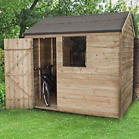 8x6 Forest Reverse apex Overlap Wooden Shed With assembly service Base included