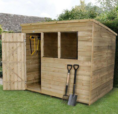 8x6 Forest Pent Overlap Wooden Shed Base included