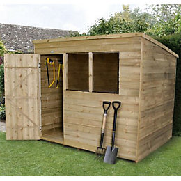 8x6 Forest Pent Overlap Wooden Shed With assembly