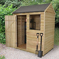 6x4 Forest Reverse apex Overlap Wooden Shed With assembly service Base included