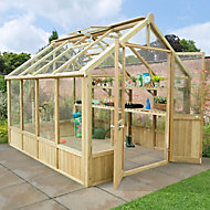Forest Garden Vale Wooden 10x8 Toughened glass greenhouse