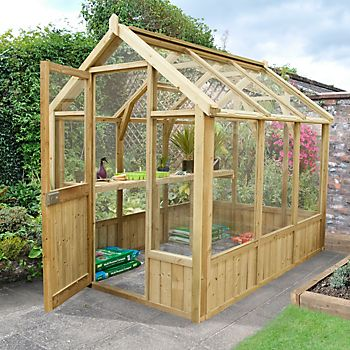 Forest Garden Vale Wooden 8X6 Toughened Glass Greenhouse