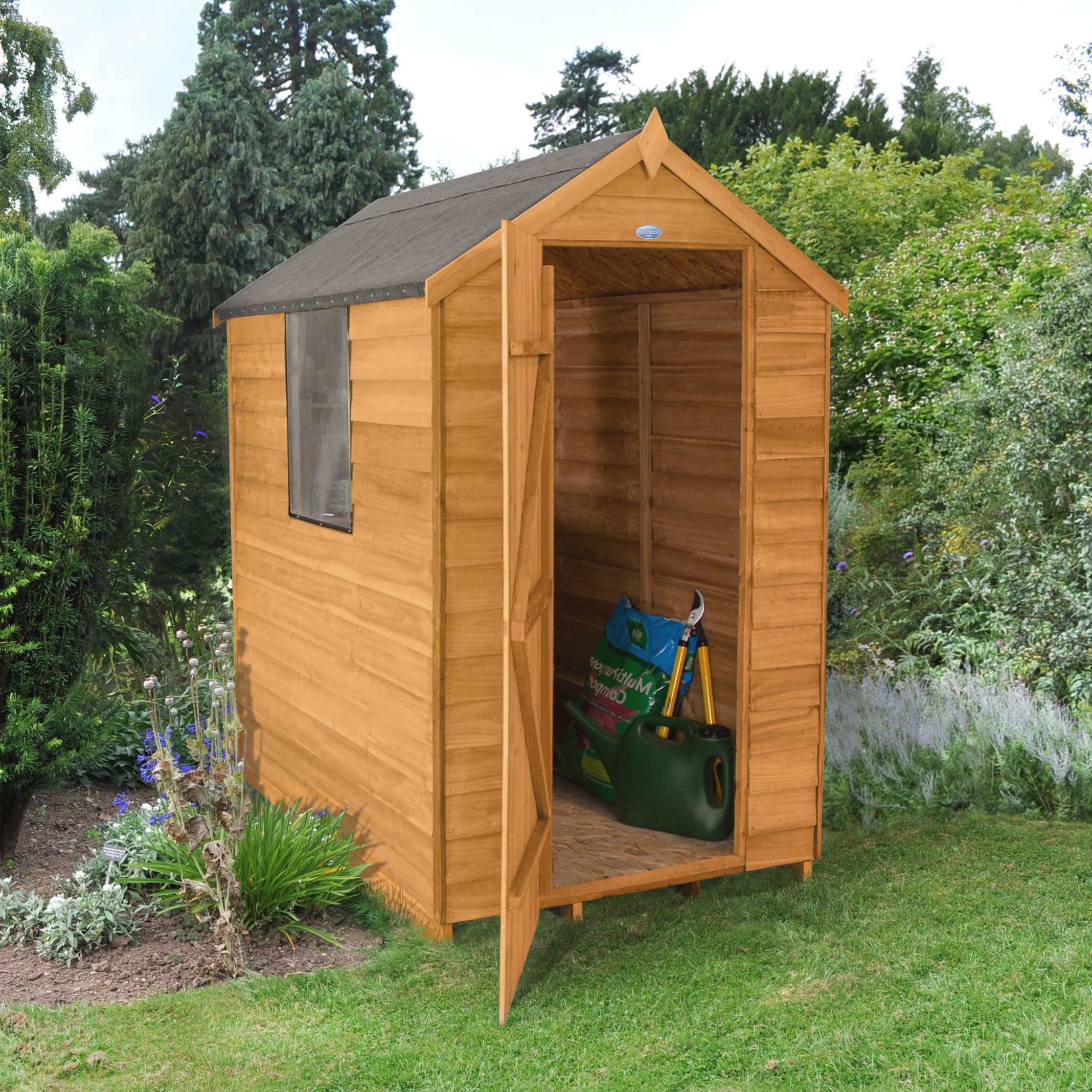6x4 Forest Apex Overlap Wooden Shed Departments Diy At B Amp Q