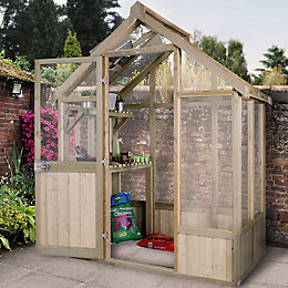 Forest Garden Vale Wooden 6x4 Toughened glass greenhouse