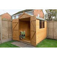 8x6 Apex roof Shiplap Wooden Double Door Shed With assembly service Base included
