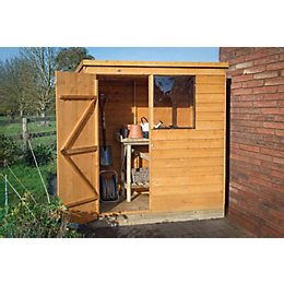 6x4 Pent Overlap Wooden Shed Base included