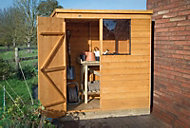 6x4 Pent roof Overlap Wooden Shed With assembly service Base included