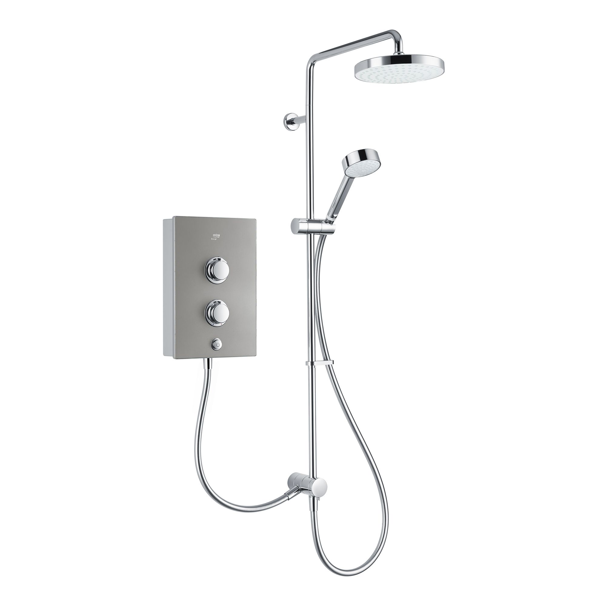 Mira Decor Dual Silver Effect Electric Shower 10 8 Kw Departments Diy At B Q
