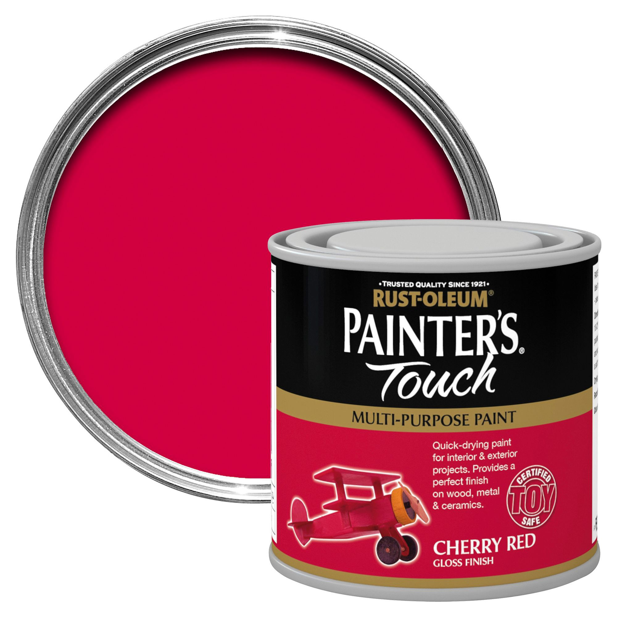 Rust Oleum Painter S Touch Cherry Red Gloss Multipurpose Paint 0 25l Departments Diy At B Q