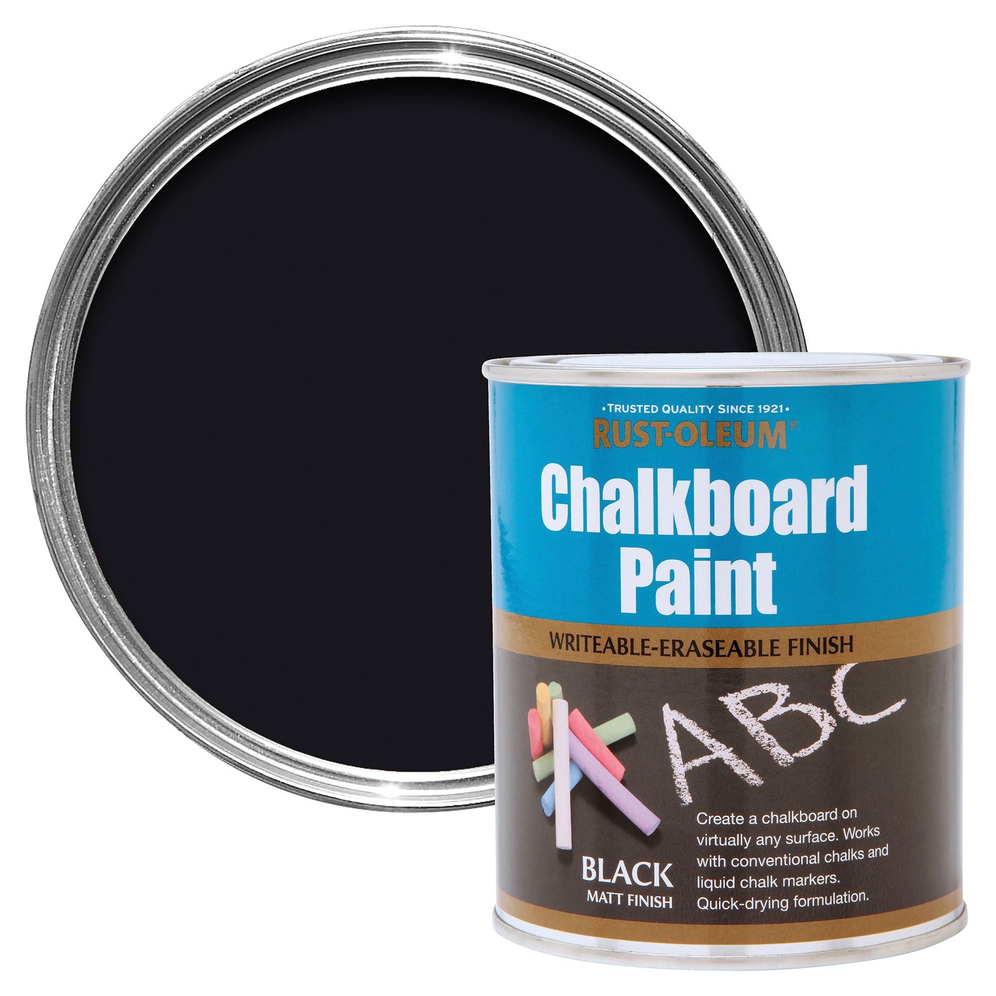 Rust oleum rust oleum black matt chalkboard paint 750 ml for Chalkboard appliance paint