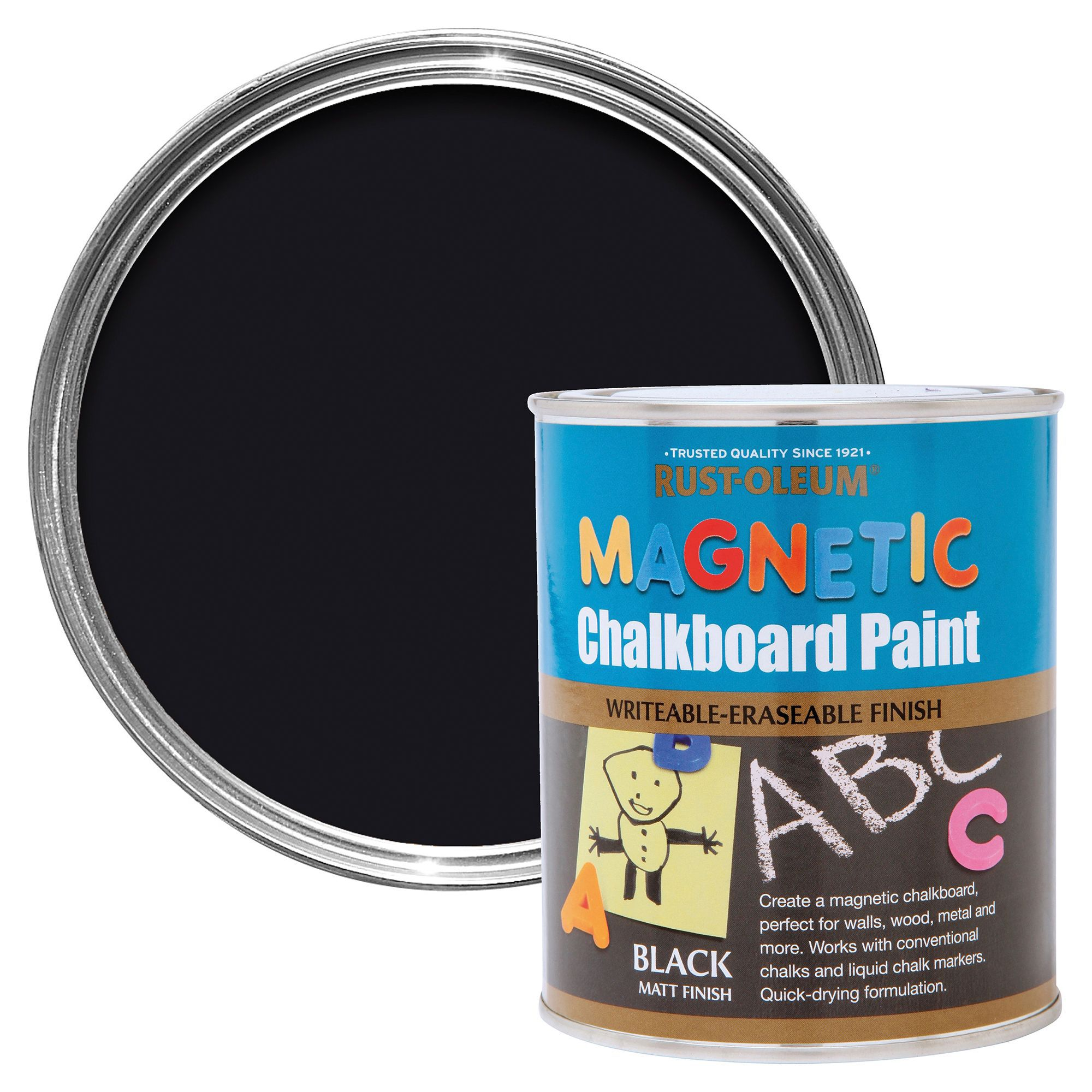 Rust Oleum Black Magnetic Matt Chalkboard Paint 750 Ml Departments Diy At B Q