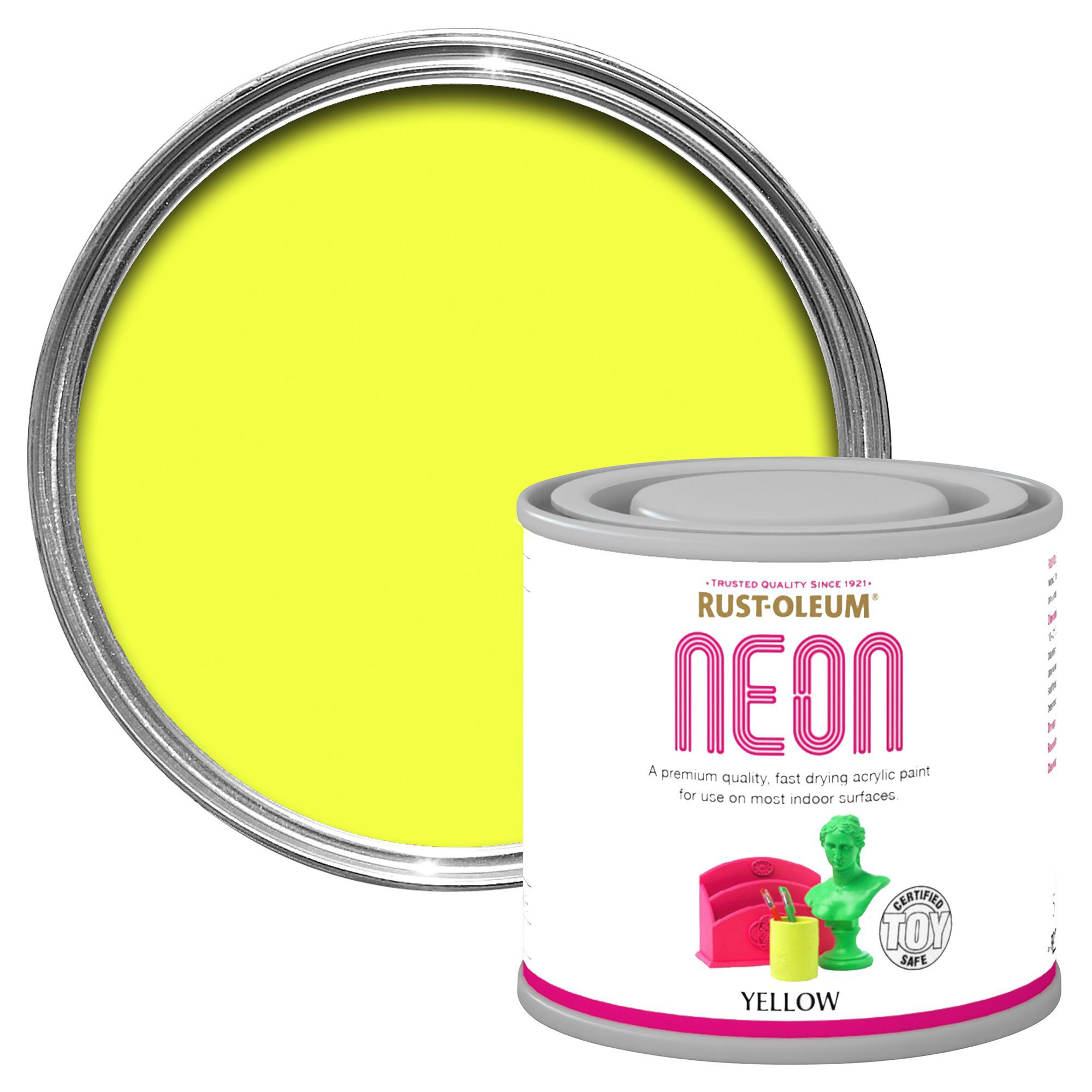 Rust-Oleum Yellow Matt Neon paint 125 ml | Departments | DIY at B&Q