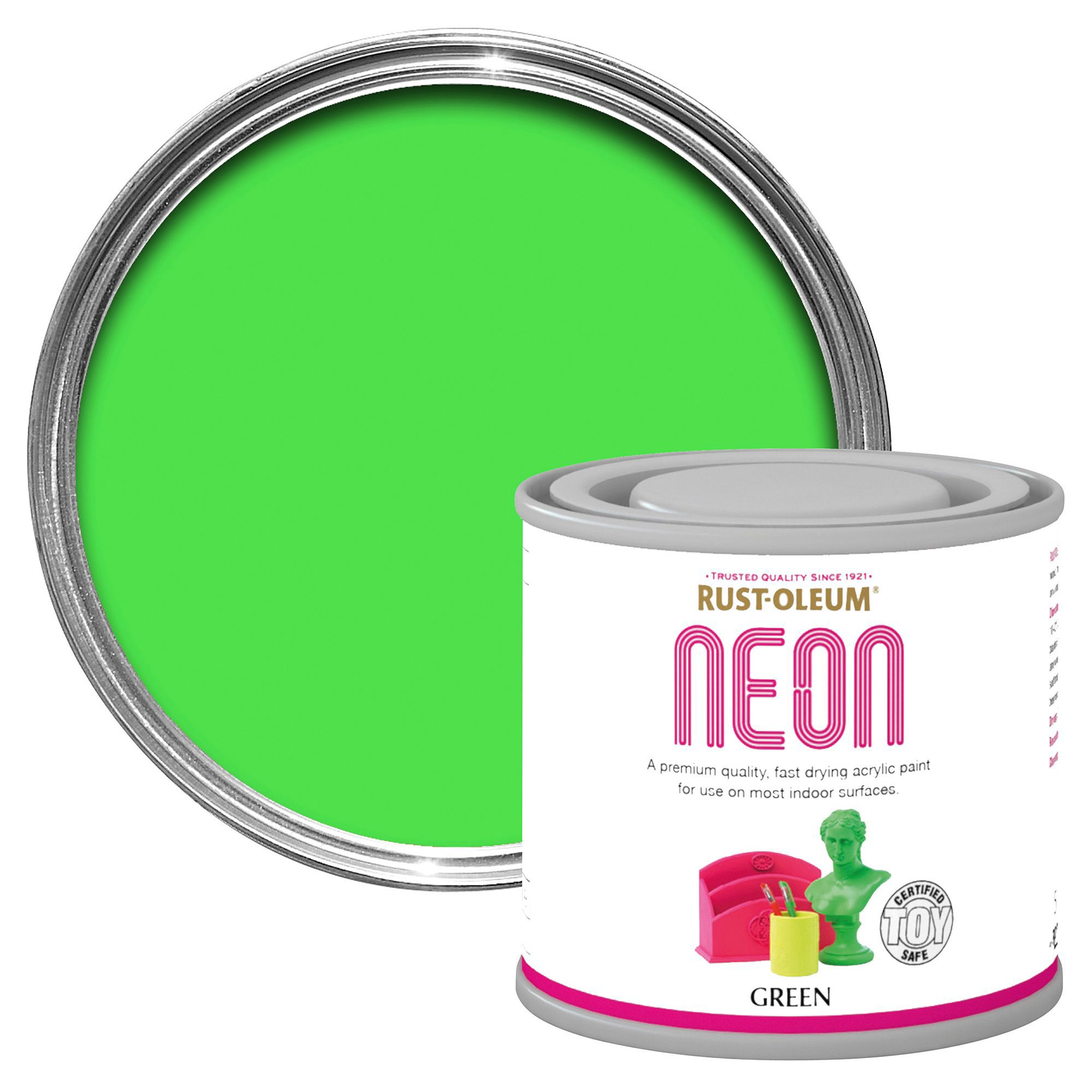 Rust Oleum Green Matt Neon Paint 125 Ml Departments