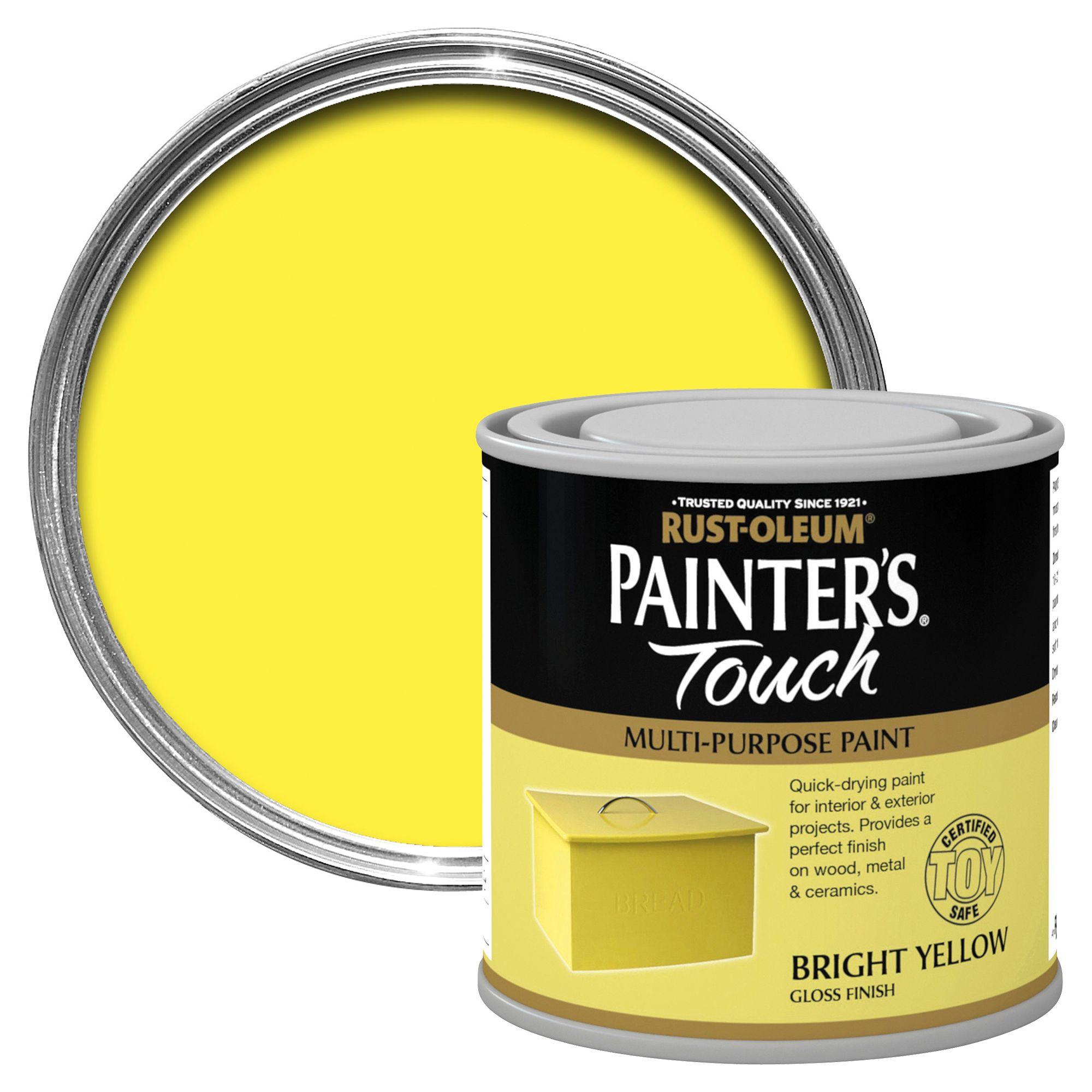 Rust Oleum Painteru0027s Touch Interior U0026 Exterior Bright Yellow Gloss  Multipurpose Paint 250ml | Departments | DIY At Bu0026Q