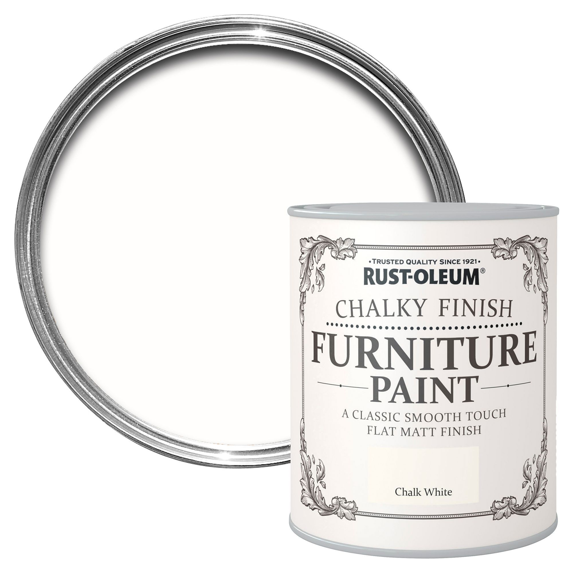 Rust Oleum Chalk White Chalky Matt Furniture Paint 125 Ml