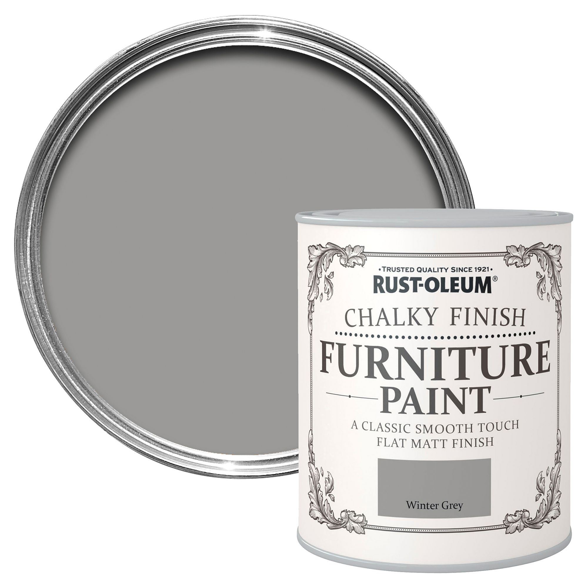Rust Oleum Winter Grey Chalky Matt Furniture Paint 125 Ml