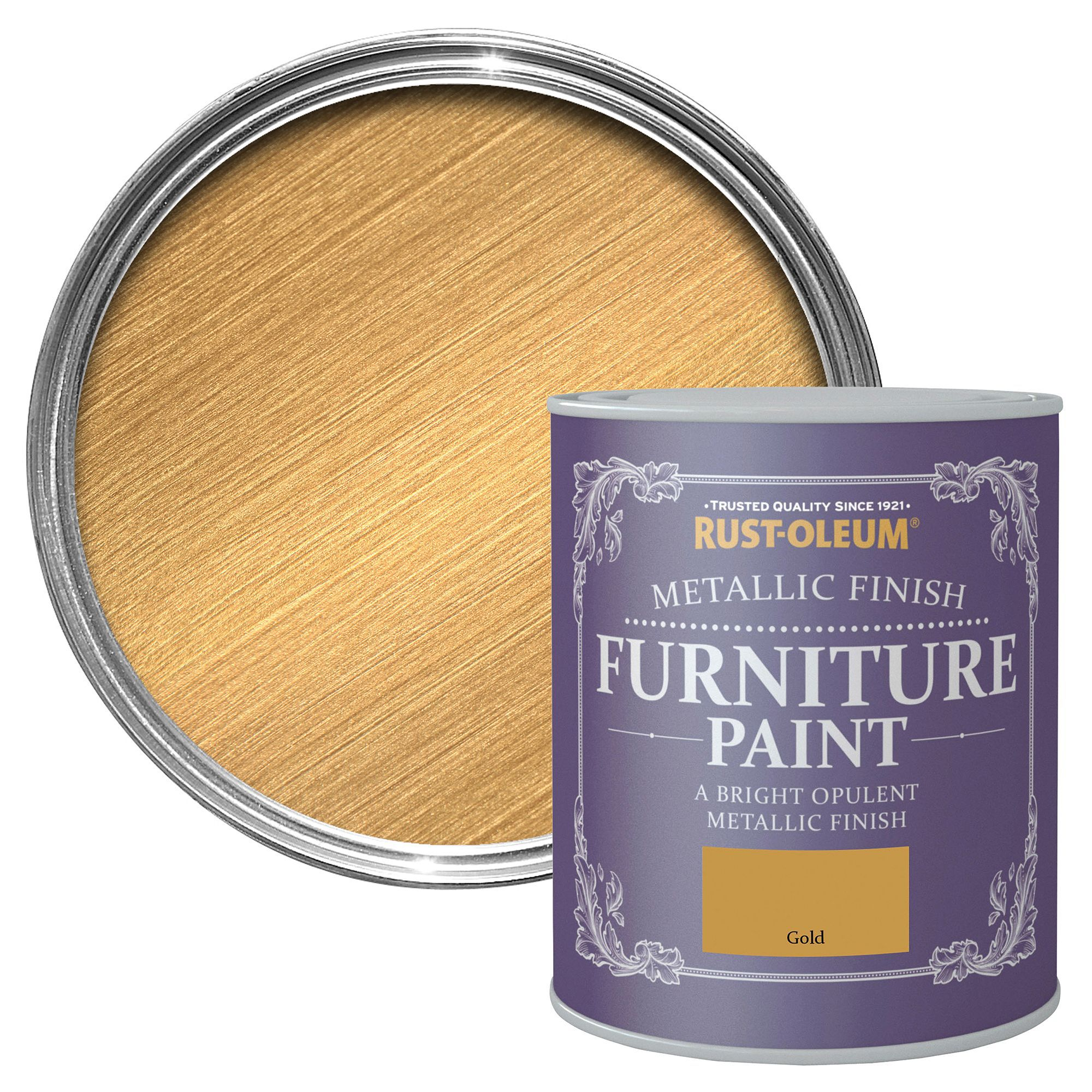 Rust-Oleum Gold Metallic Furniture paint 750 ml | Departments | DIY at B&Q