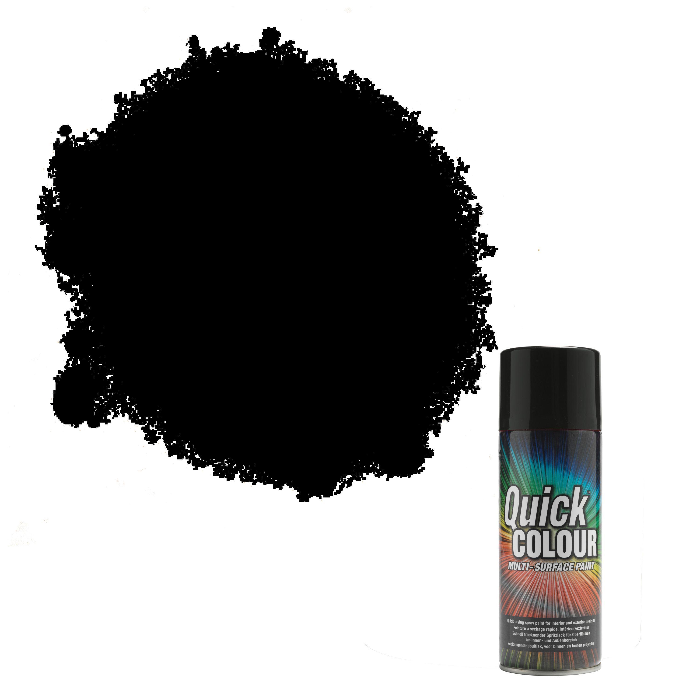 Rust Oleum Quick Colour Black Gloss Gloss Multi Surface Spray Paint