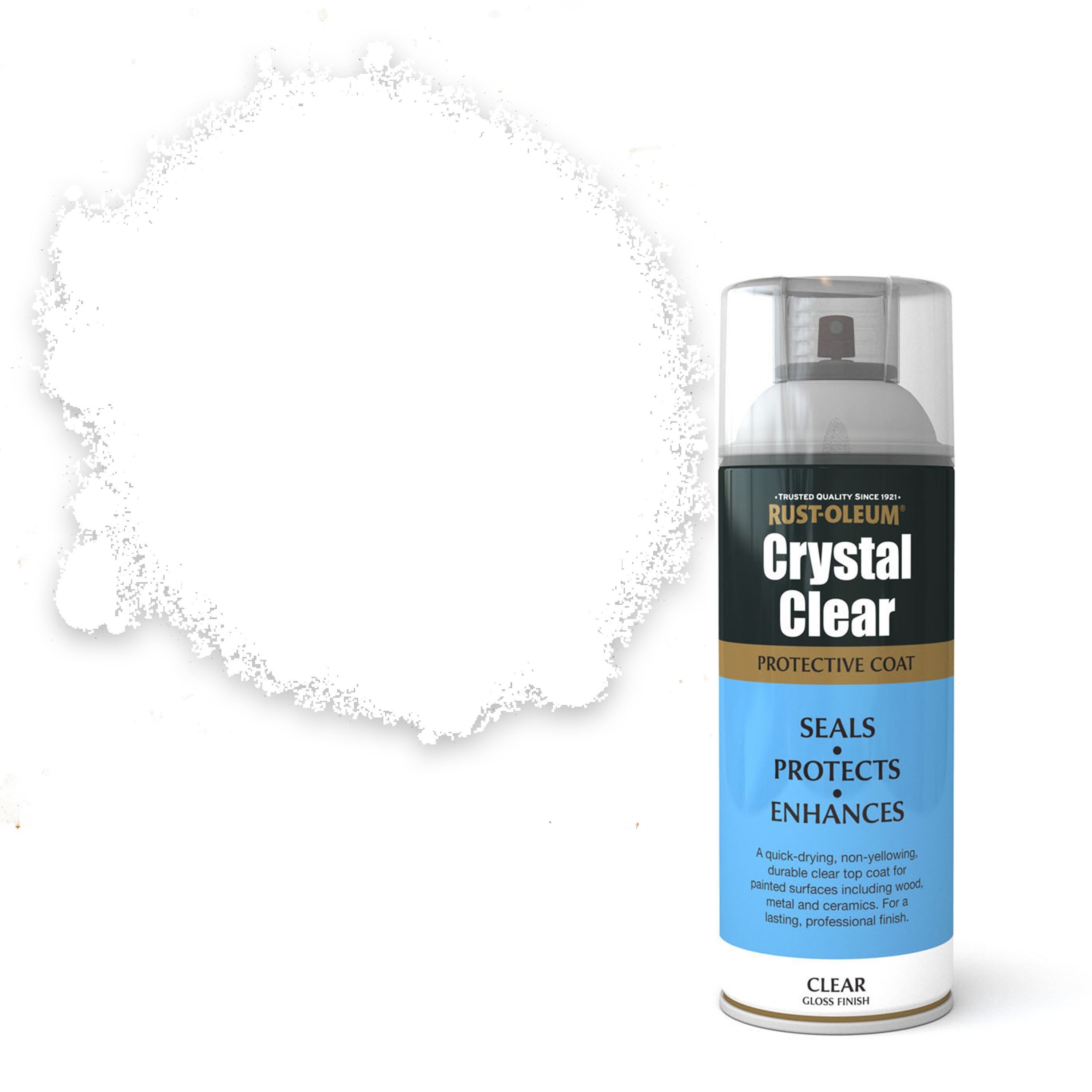 Rust-Oleum Crystal clear Clear Gloss Protective lacquer spray paint 400 ml  | Departments | DIY at B&Q