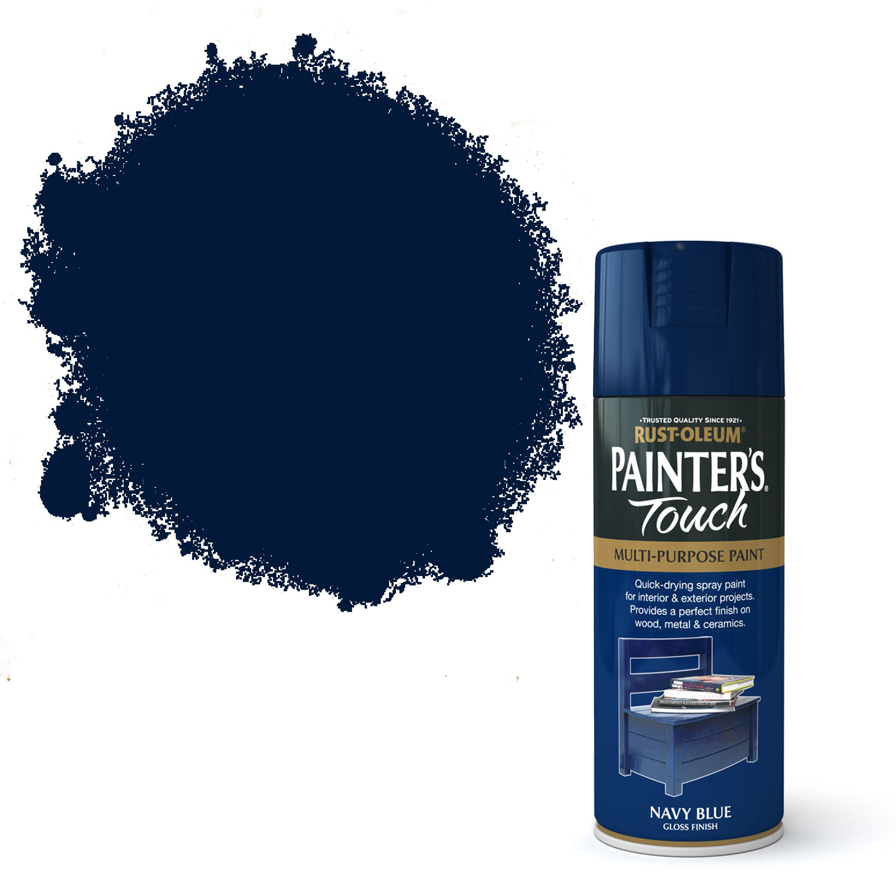Rust Oleum Painter 39 S Touch Navy Blue Gloss Decorative Spray Paint 400 Ml Departments Tradepoint