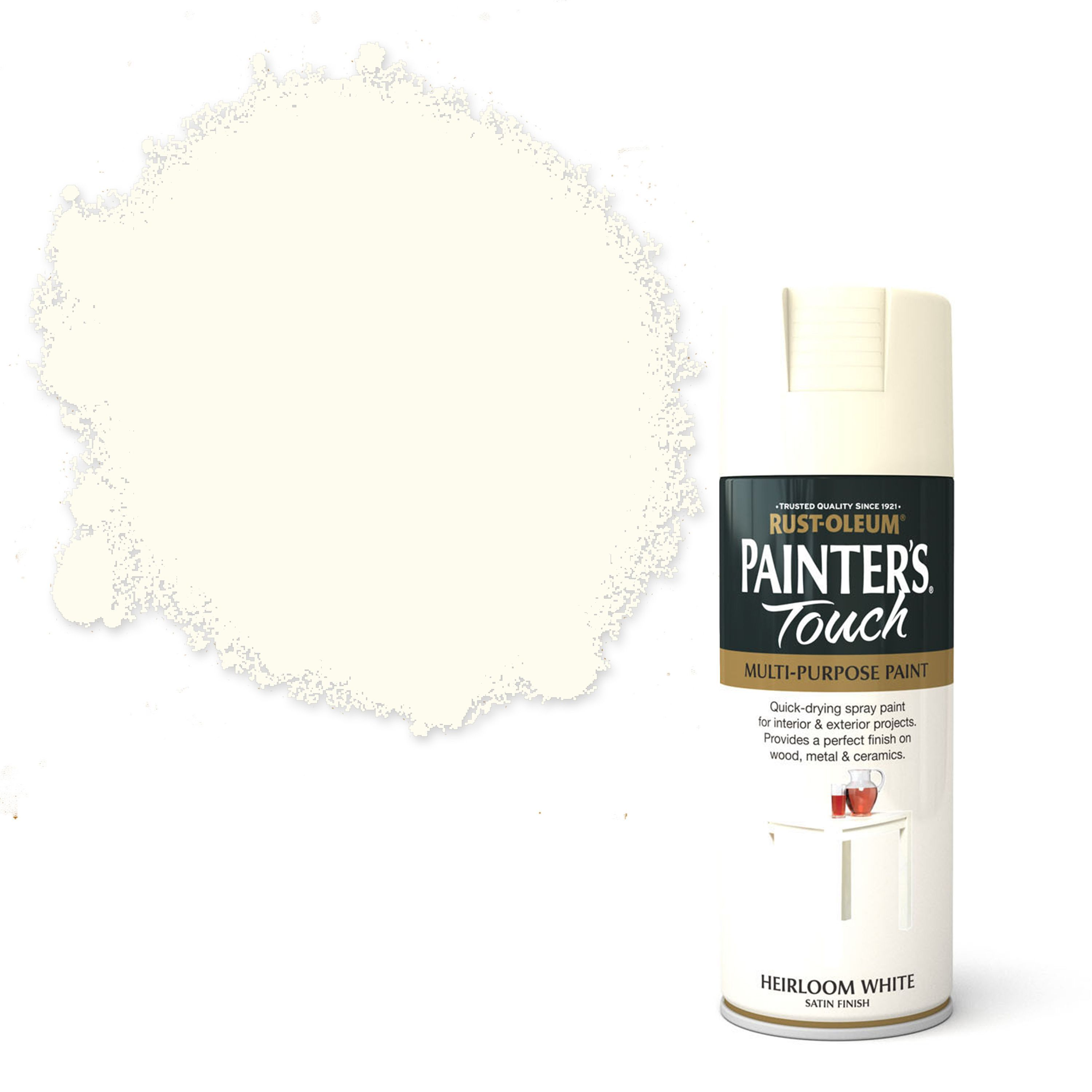 Rust-Oleum Painter's touch Heirloom white Satin Decorative spray paint 400  ml | Departments | DIY at B&Q