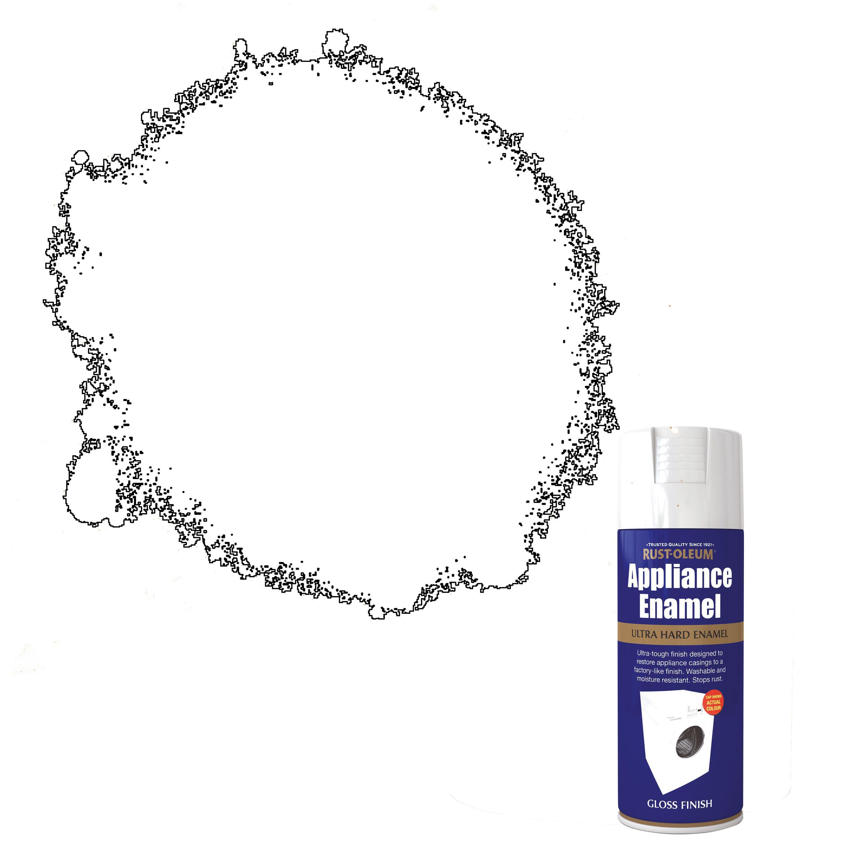Rust-Oleum White Gloss Appliance enamel spray paint 400 ml | Departments |  DIY at B&Q