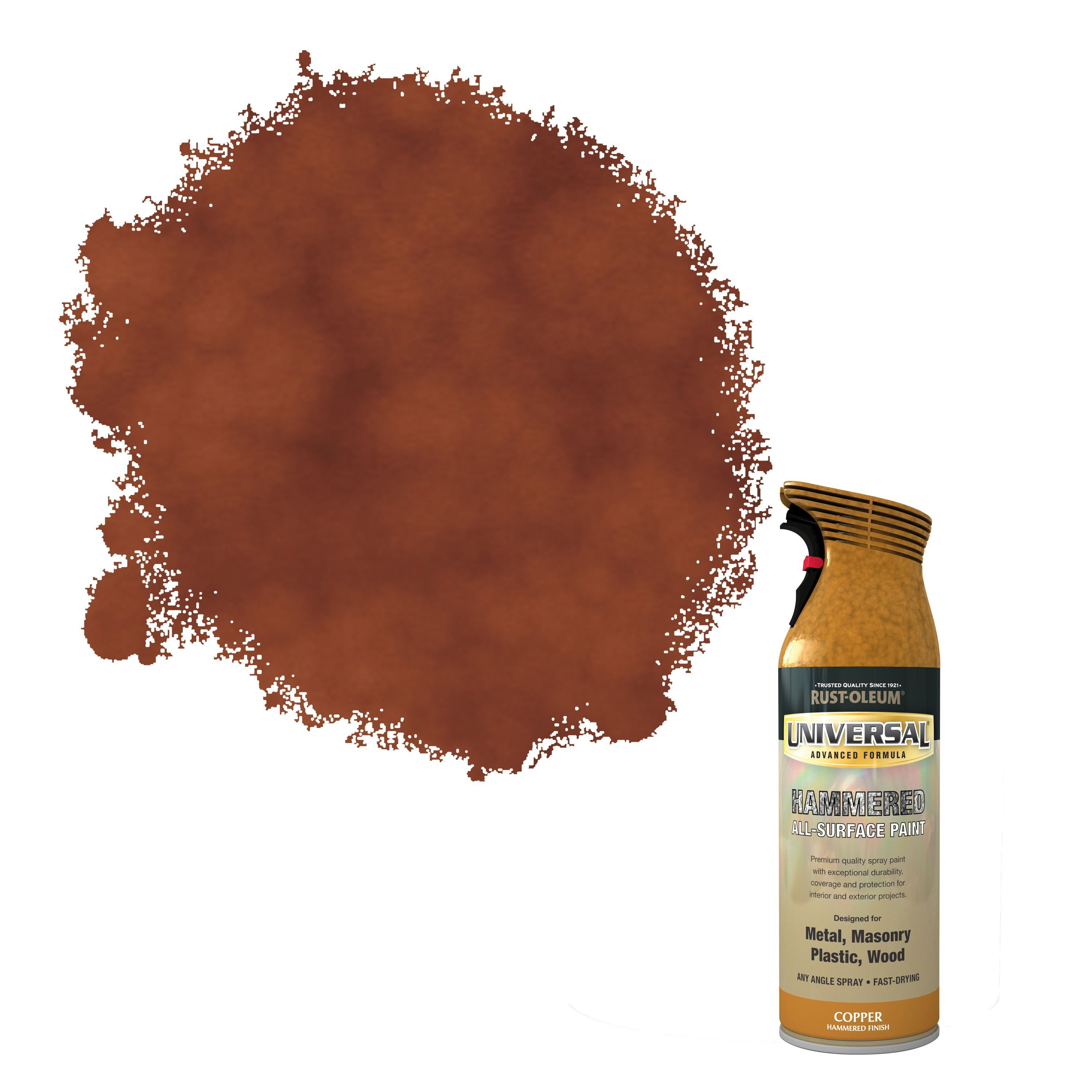 Rust Oleum Universal Copper Hammered Effect All Surface Spray Paint 400 Ml Departments Diy At B Q