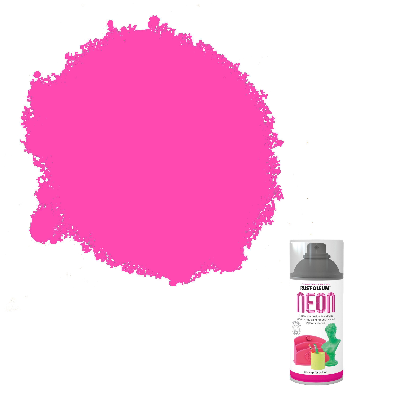 Rust-Oleum Neon Pink Matt Spray paint 150 ml | Departments | DIY at B&Q