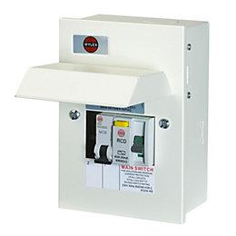 Wylex 63A 2-Way Metal Shower Kit Consumer Unit