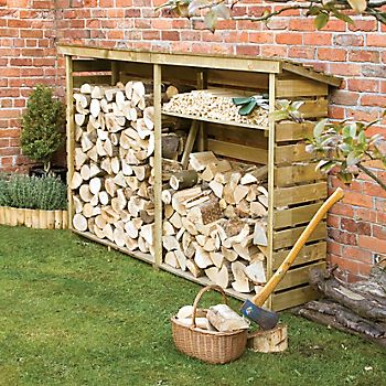 Pent wooden log store 7x2