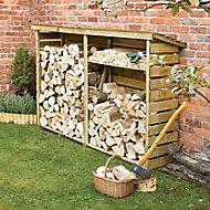 Pent Wooden Log store 7x2