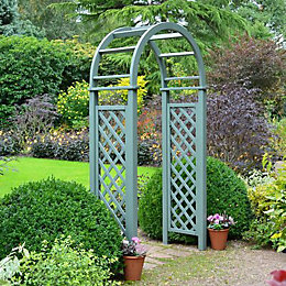 Blooma Softwood Pre-Painted Willow Green Lattice Arch