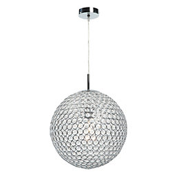 Lopez Crystal Bead Chrome Effect Pendant Ceiling Light