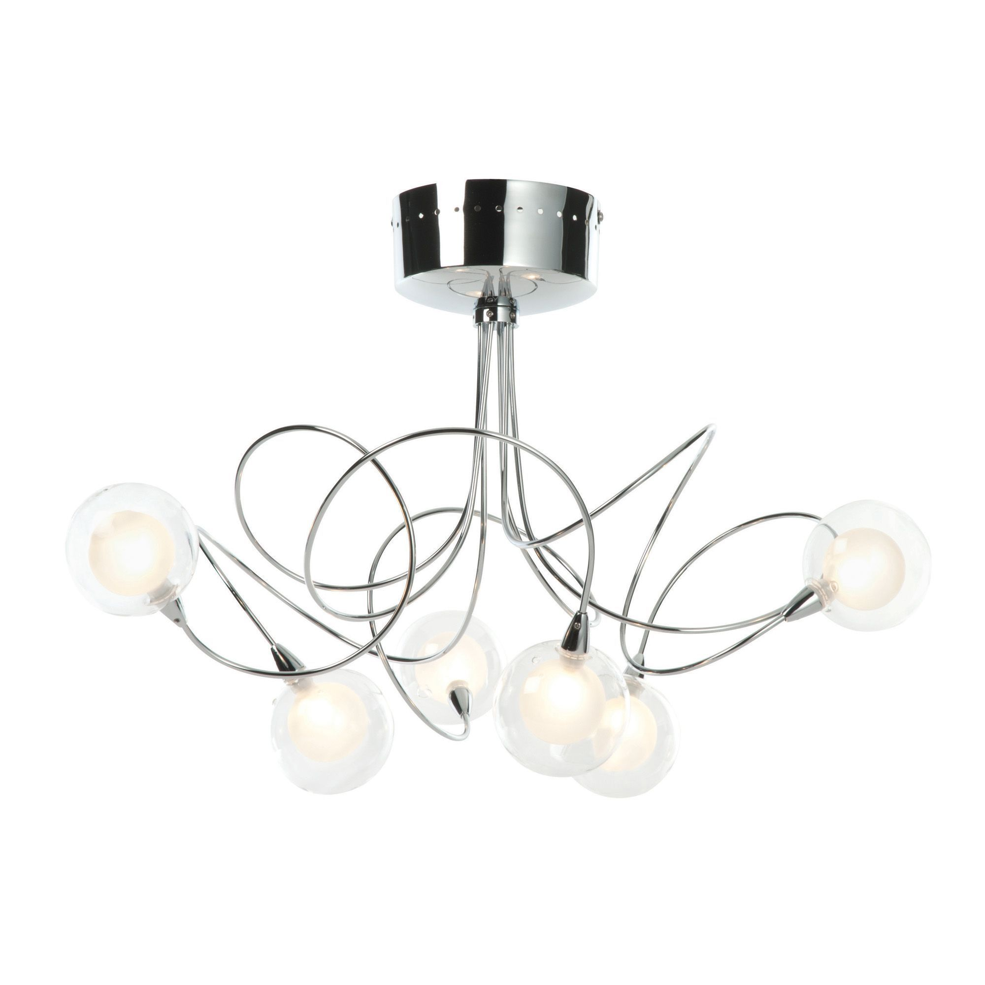Outdoor Ceiling Lights B And Q : Freefall loop arm chrome effect lamp semi flush ceiling
