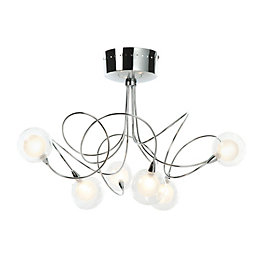 Freefall Loop Arm Chrome Effect 6 Lamp Semi