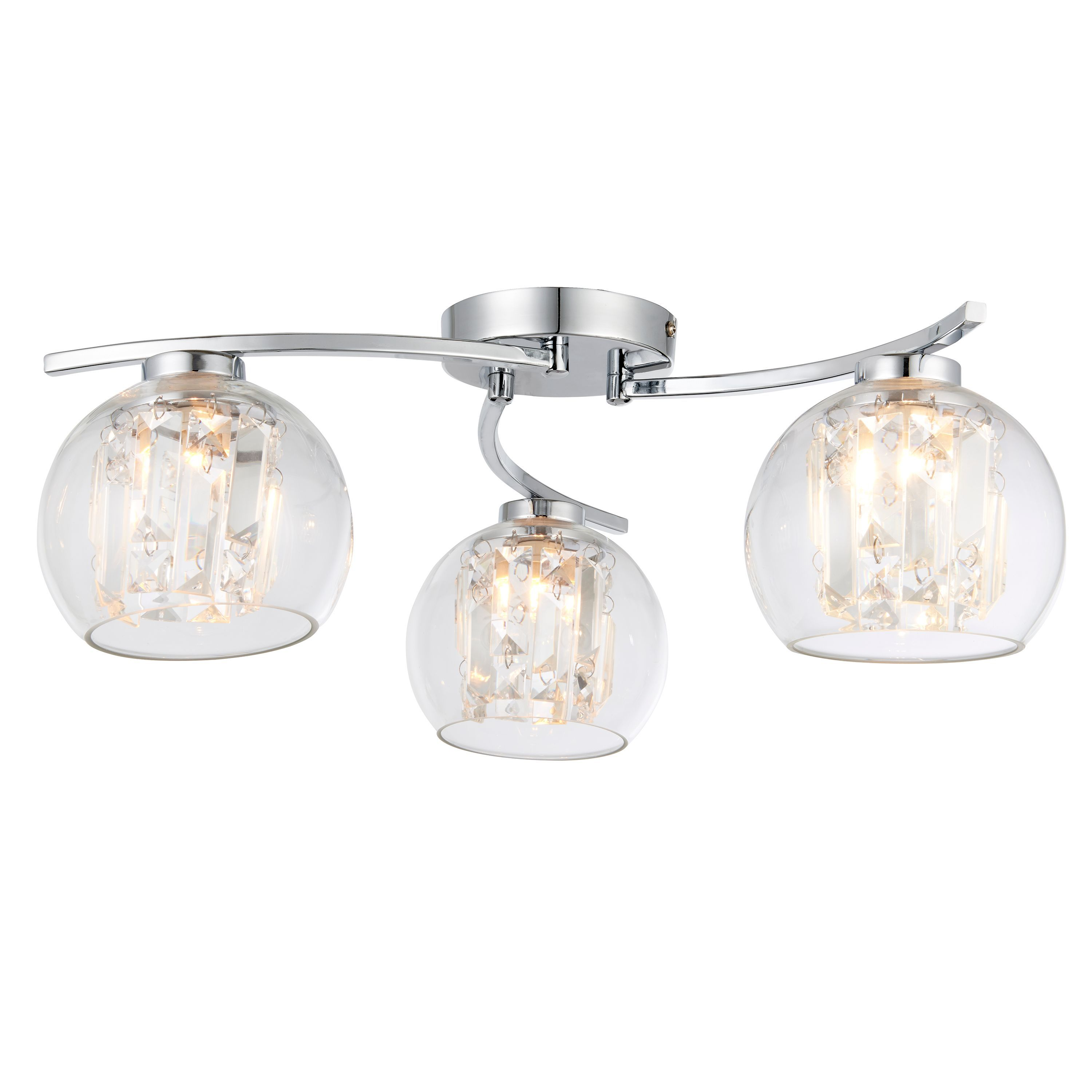 Chico glass sphere chrome effect 3 lamp ceiling light chico glass sphere chrome effect 3 lamp ceiling light departments diy at bq mozeypictures Gallery