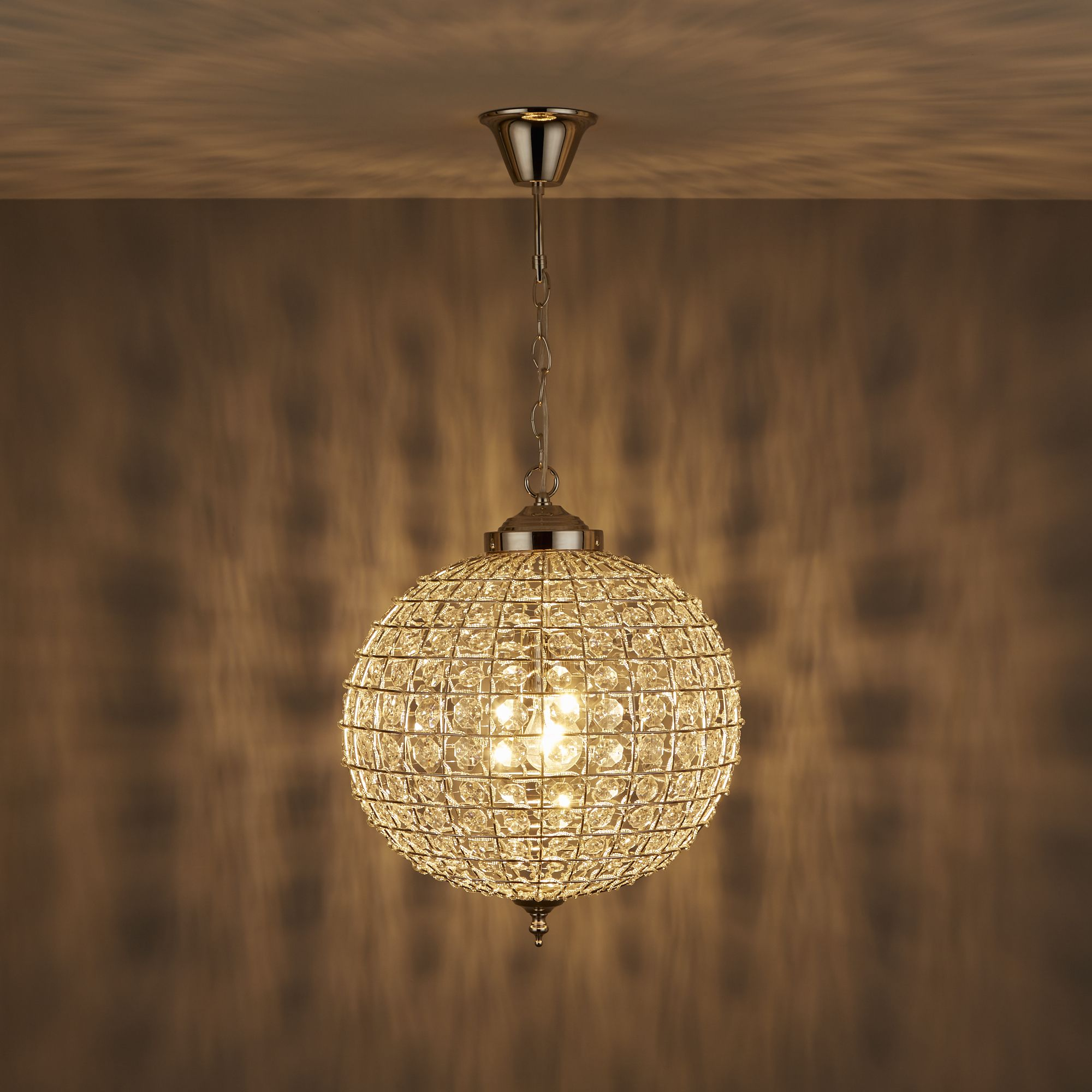 Freya Crystal sphere Nickel effect Pendant ceiling light