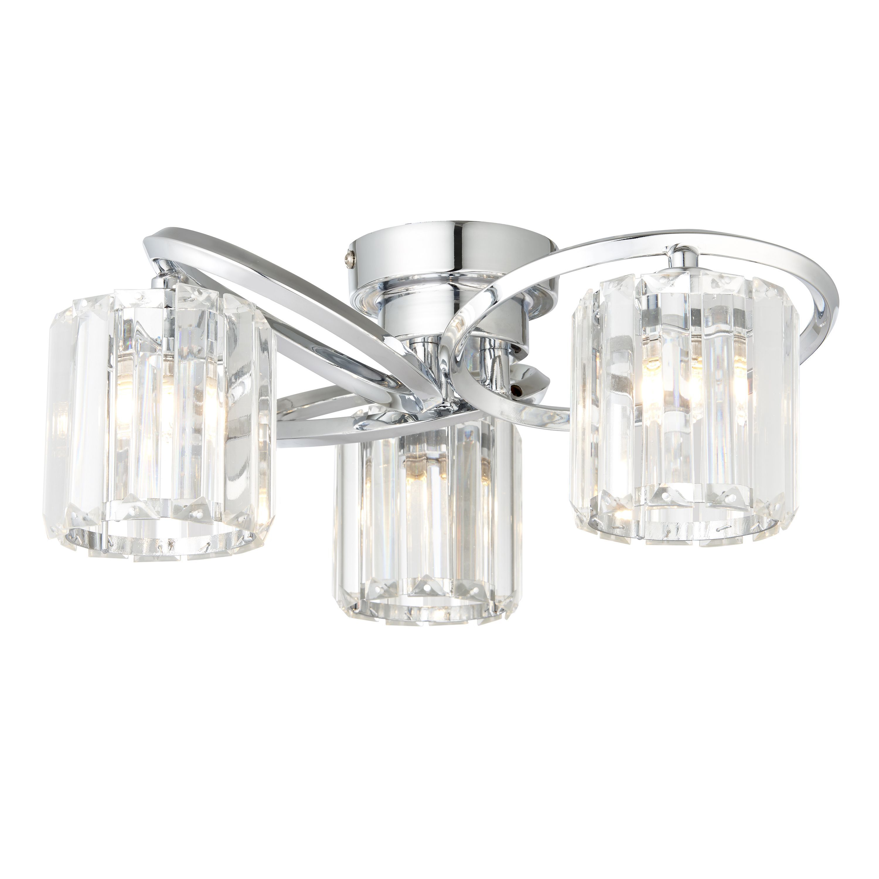 Picture of: Bromley Bevelled Glass Chrome Effect 3 Lamp Ceiling Light Departments Diy At B Q