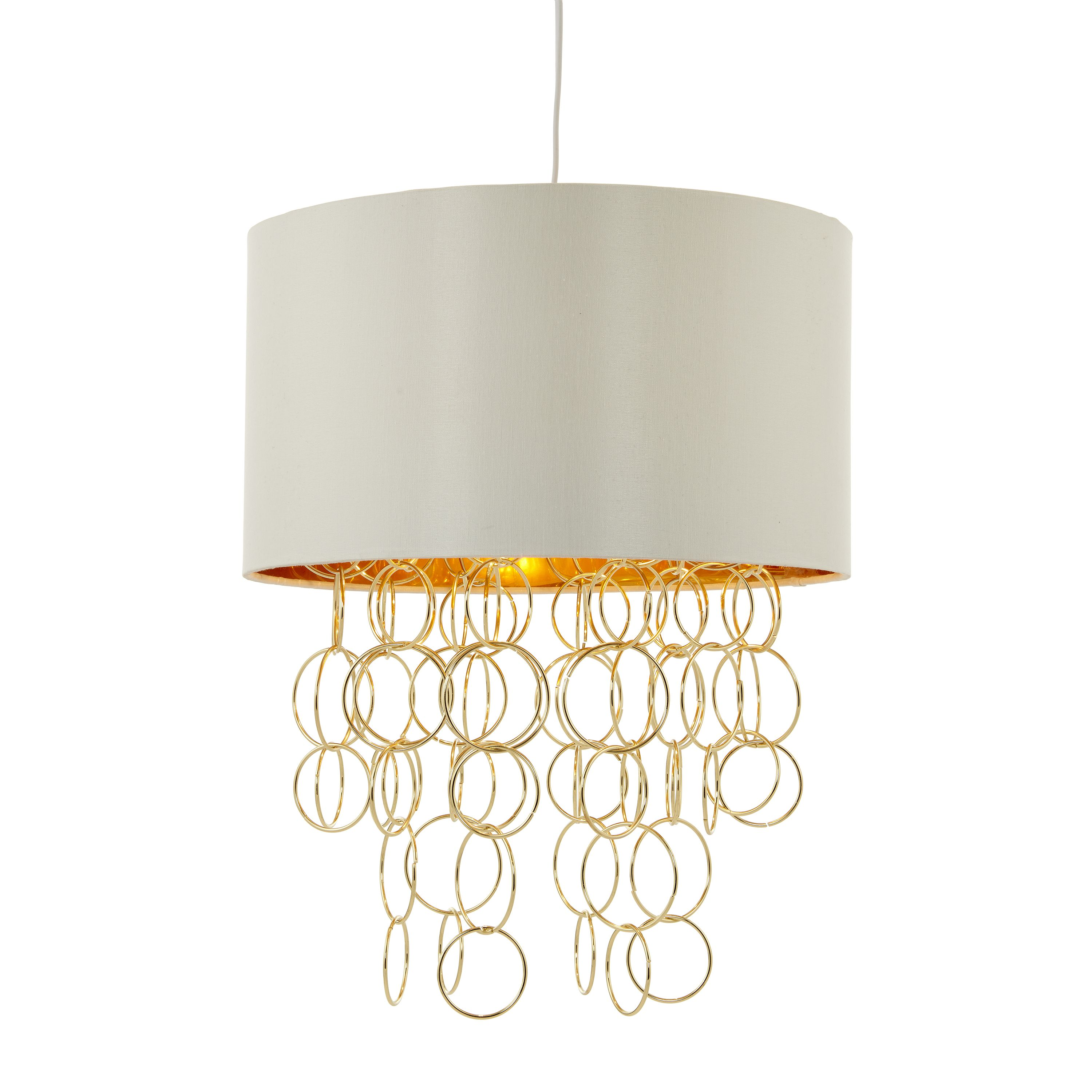 Abby Shade With Hoops Ivory & Gold Pendant Ceiling Light