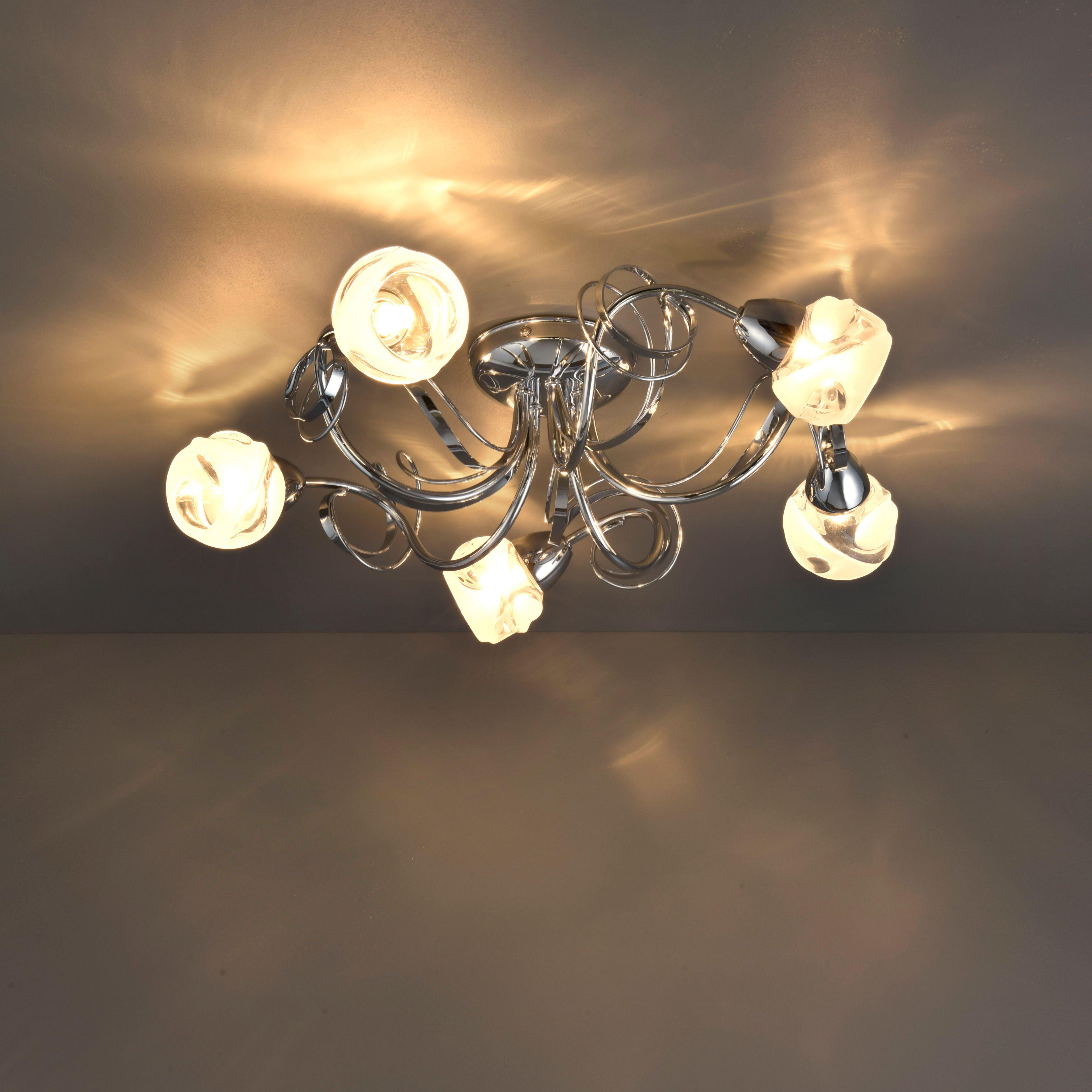 Leonice Modern Chrome Effect 5 Lamp Ceiling Light