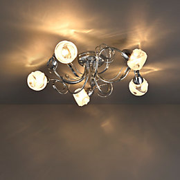 Leonice Modern Chrome Effect 5 Lamp Ceiling Light