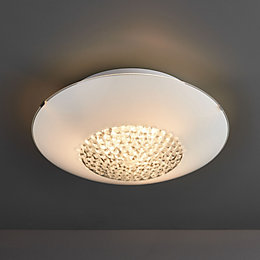 Crystallinity Crystal White 3 Lamp Flush Bathroom Ceiling