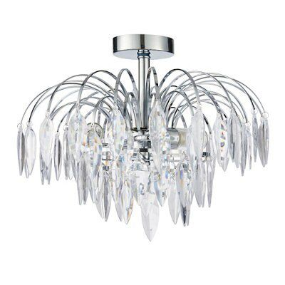 Picture of: Valetta Faceted Brushed Chrome Effect 3 Lamp Ceiling Light Departments Diy At B Q