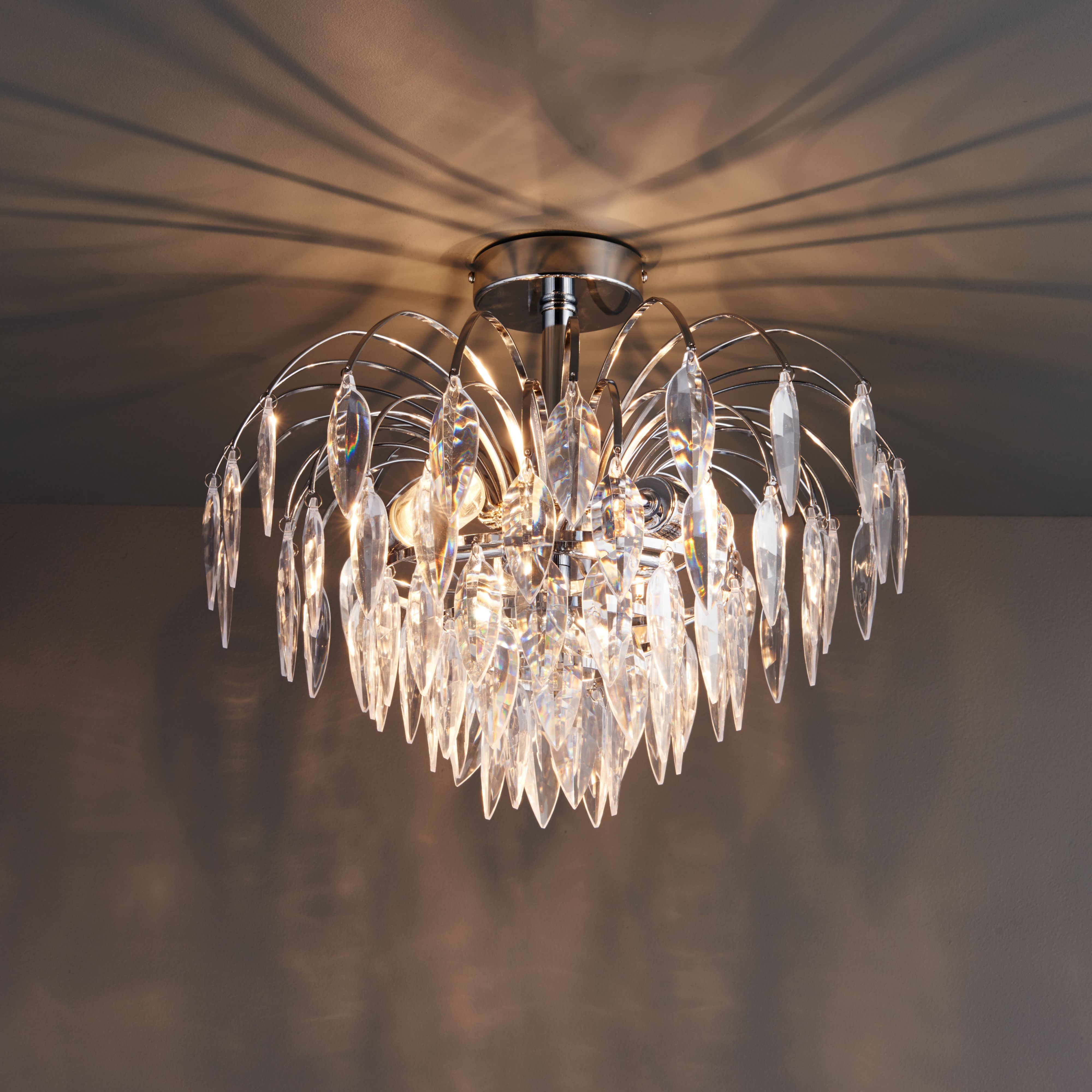Valetta Faceted Chrome Effect 3 Lamp Ceiling Light