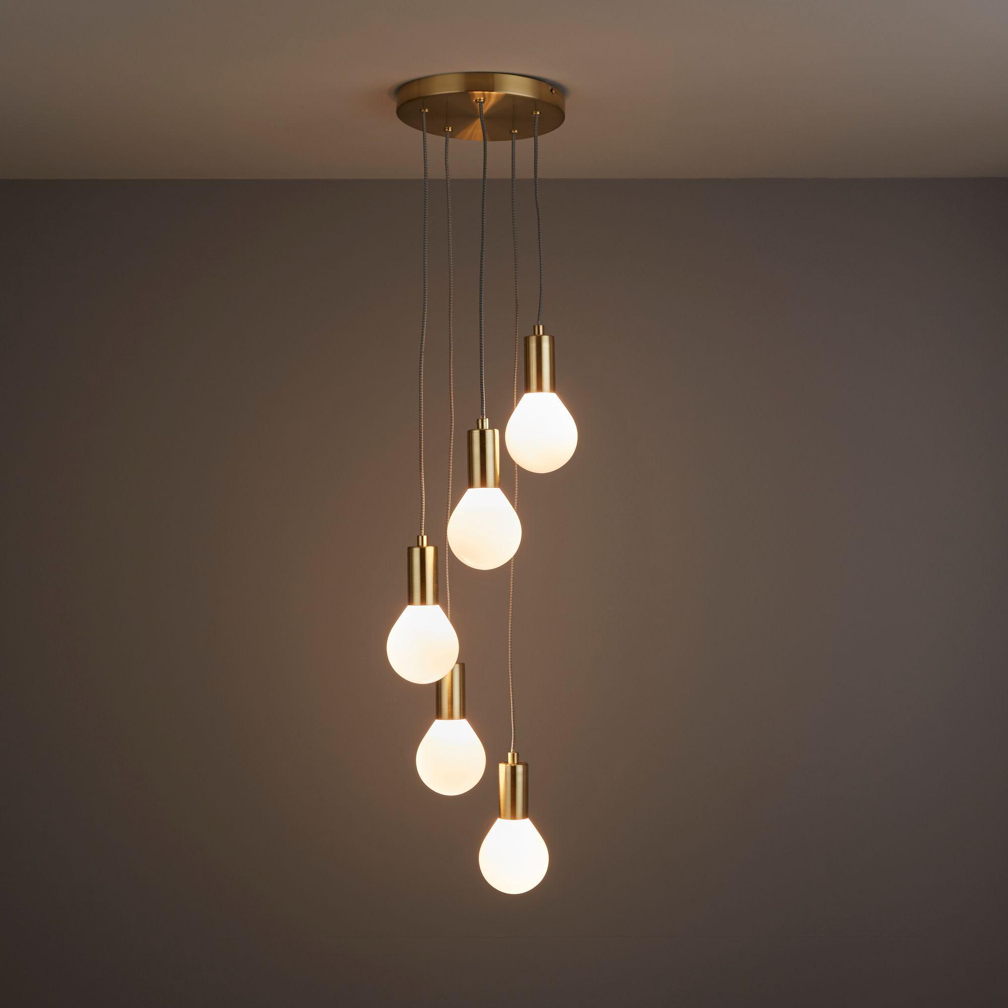 Channing Modern Gold Satin Brushed 5 Lamp Ceiling Light
