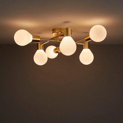 Channing Modern Gold Satin Brushed 6 Lamp Ceiling Light