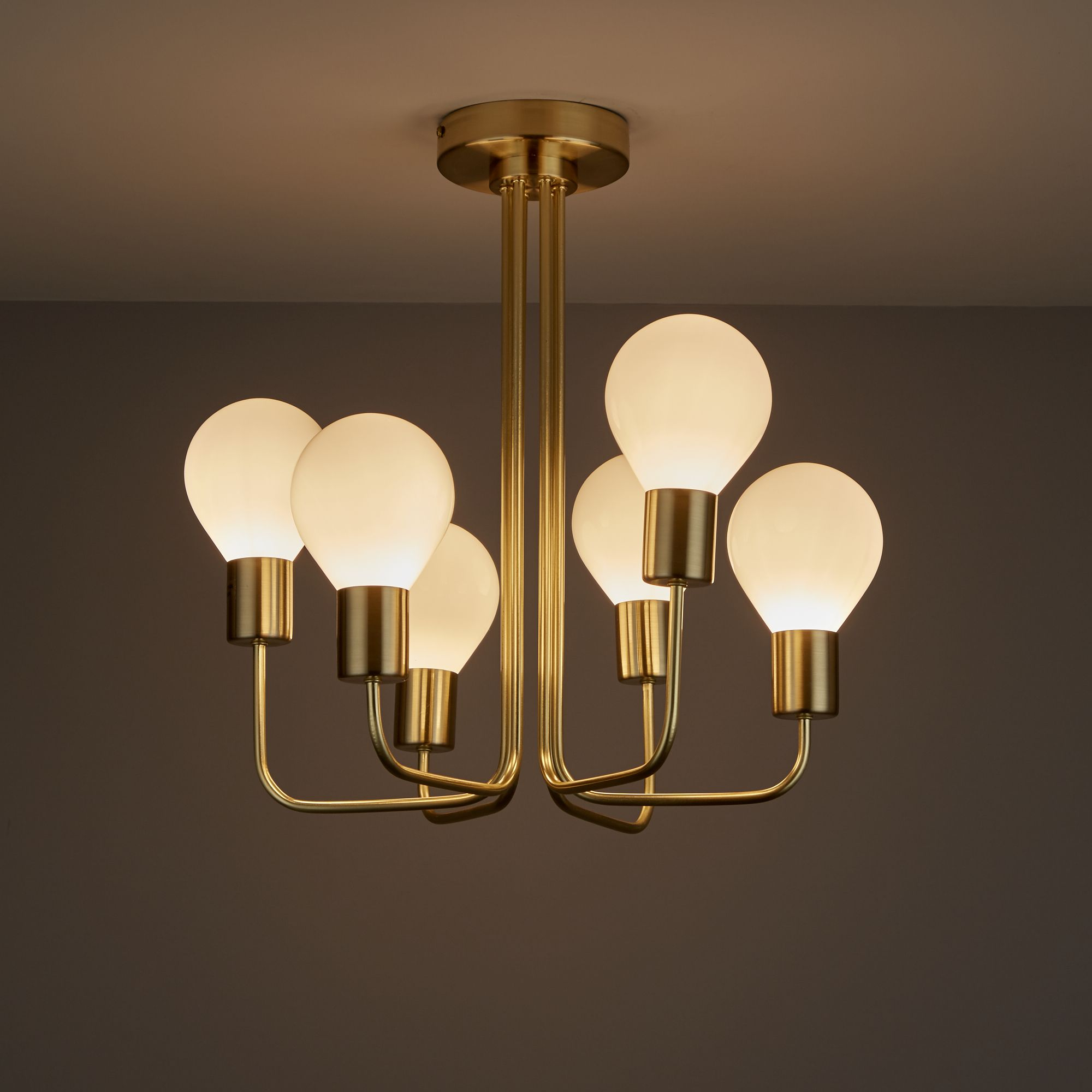 Channing Brushed Gold Effect 6 Lamp Semi Flush Ceiling