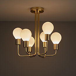Channing Brushed Gold Effect 6 Lamp Semi Flush