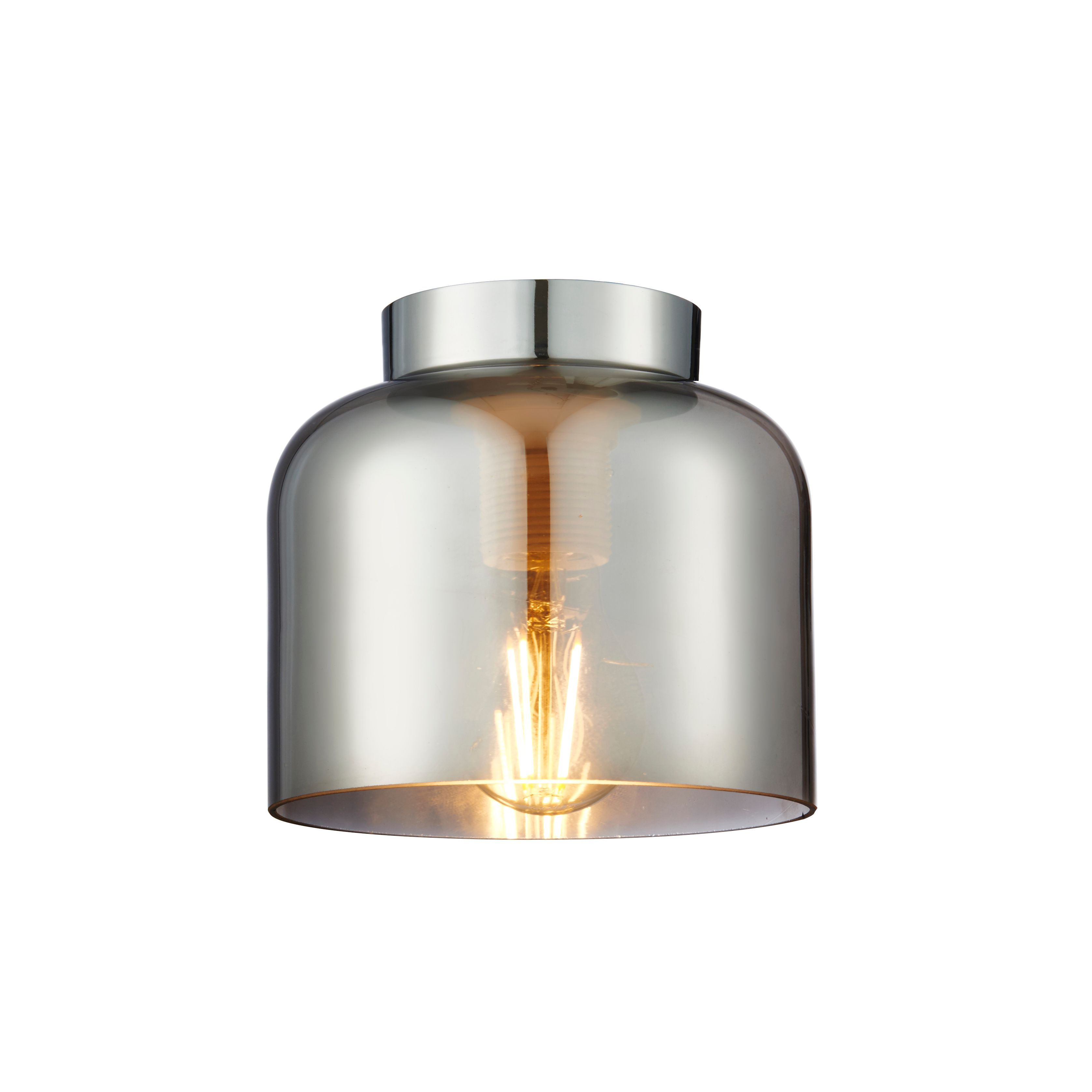 Picture of: Seb Brushed Chrome Effect Flush Ceiling Light Departments Diy At B Q