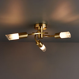 Nico Brushed Gold Effect 3 Lamp Ceiling Light